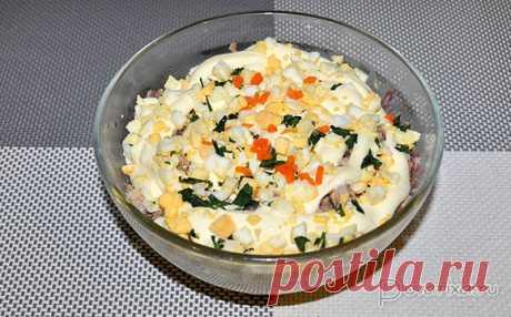 Салат из консервированной рыбы с морковью и яйцом Как и большинство салатов с консервированной рыбой – это вкусно. Особый оттенок вкуса привносят пассерованная морковь и маринованный лук.