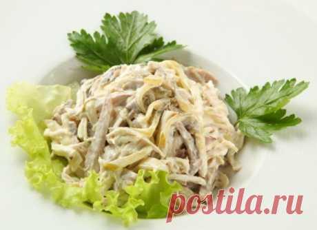 Салат из курицы, омлета и грибов — Sloosh – кулинарные рецепты