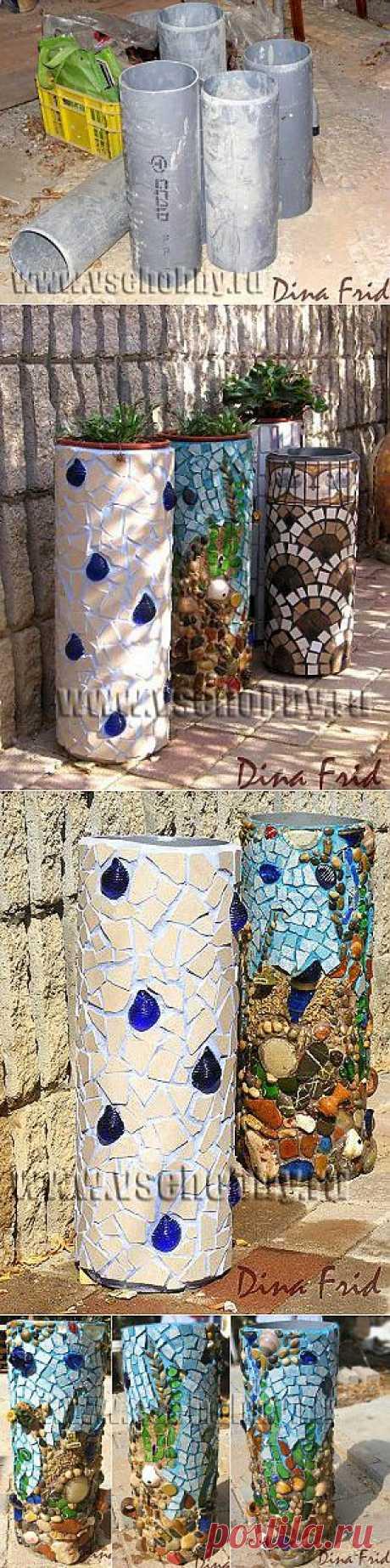 Кашпо из труб с мозаикой | СВОИМИ РУКАМИ
