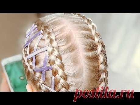 Прически НА КАЖДЫЙ ДЕНЬ для длинных средних волос / Косы с лентой / Красивая прическа в школу