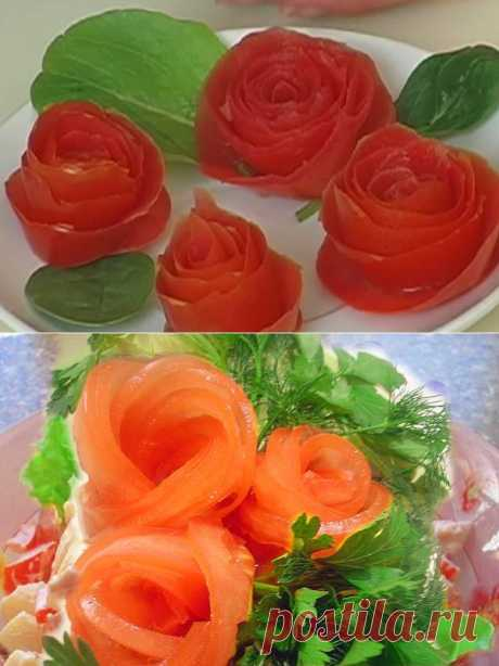 How to make of tomato a rosette - a step-by-step lesson with video