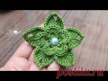 Как сделать 3D вязаный цветок # вязать цветочные узоры # украшение цветком