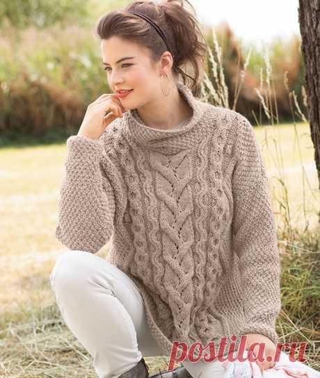 Женские пуловеры оверсайз с косами спицами – 5 схем вязания с описанием и МК видео