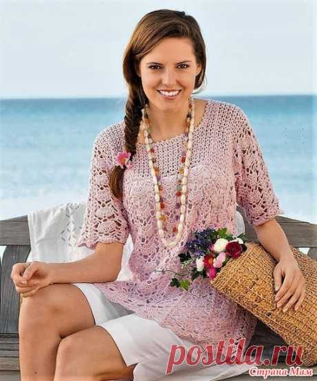 Pink openwork tunic. - All in openwork... (knitting by a hook) - the Country of Mothers
