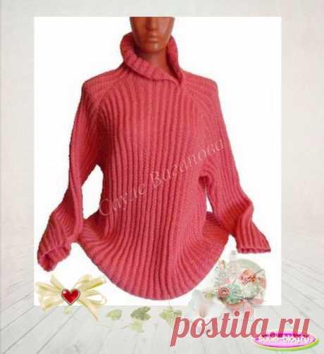 Модный пуловер с округлым низом и асимметричным воротником
