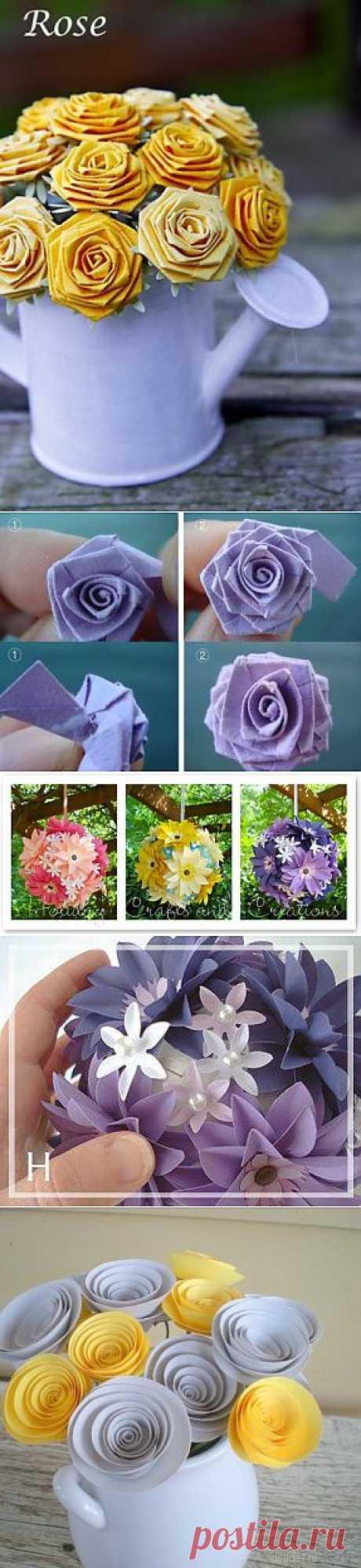 (+1) тема - Красивые цветы из бумаги. Много МК | СВОИМИ РУКАМИ