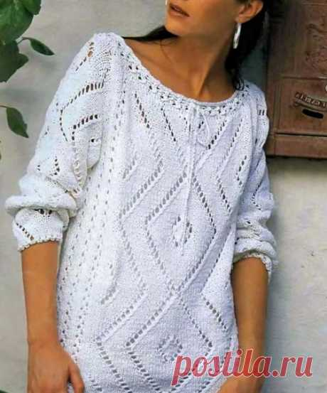 #вязаный_пуловер@modnoe.vyazanie Пуловер. Описание.