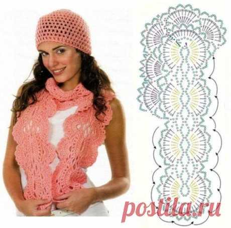 Яркие шарф и шапочка связанные крючком. Схема
