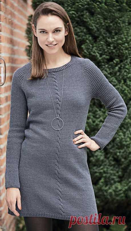 Мини-платье с центральной «косой» - схема вязания спицами. Вяжем Платья на Verena.ru