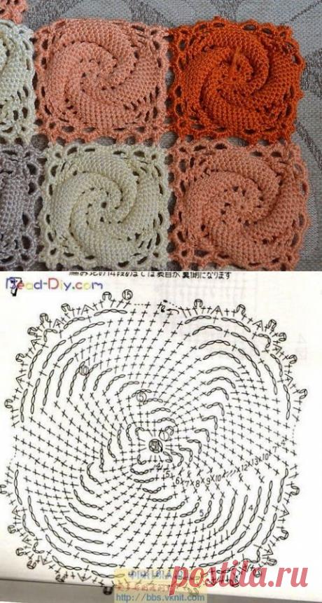 Дневник рукодельницы  Вяжем квадрат с выпуклой спиралью крючком
