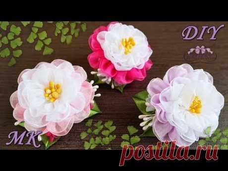 🌺 Цветы из органзы. Резиночки для волос. МК/DIY - YouTube