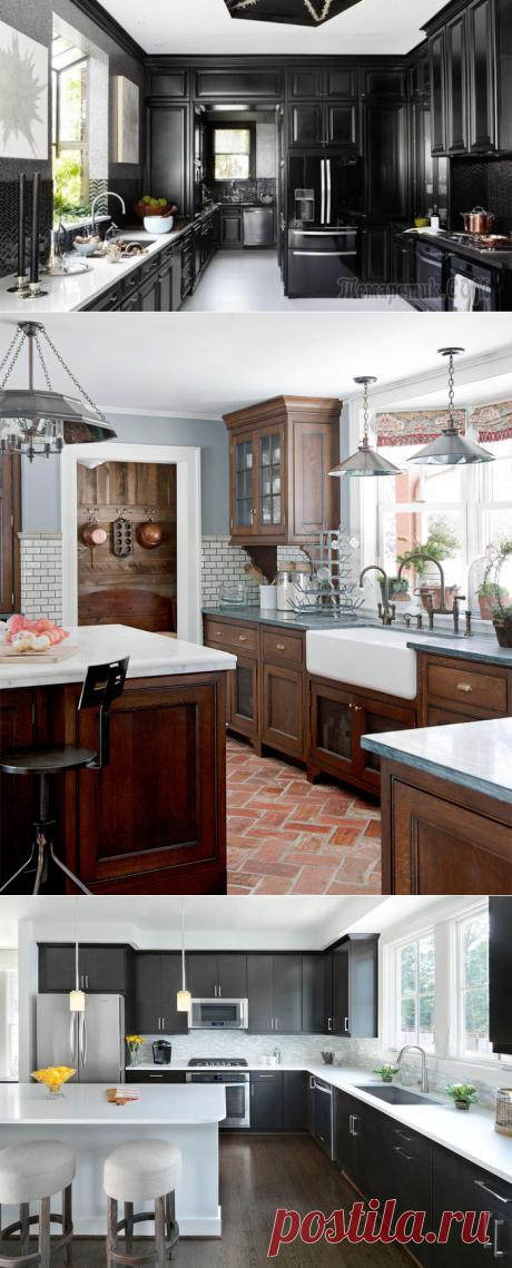 20 кухонь с темными гарнитурами
