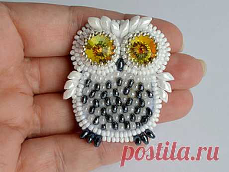 """Master class on the embroidered brooch from """"Полярная сова&quot beads; - oh and nravyatya to me these wise birdies."""