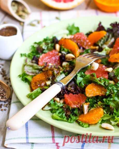 Сочный цитрусовый салат для поддержки иммунитета и поднятия настроения :). Постный рецепт. | Кулинарный блог Дарьи Савельевой | Яндекс Дзен