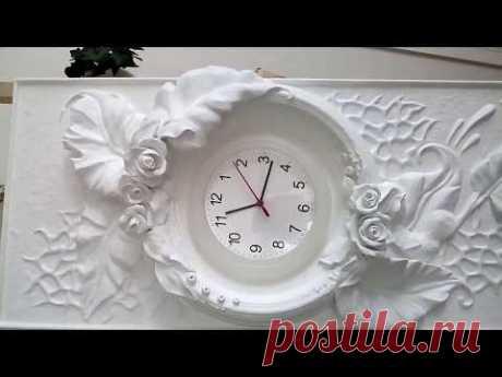 Барельеф,часы,гипс,акрил. Bas-relief, clock, gypsum, acrylic. - YouTube