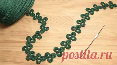 ЛЕНТОЧНОЕ КРУЖЕВО трилистник crochet ribbon lace flower trefoil crochet