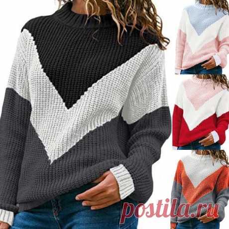 Женский трикотажный свитер JAYCOSIN, Свободный Повседневный пуловер с круглым вырезом и длинными рукавами, с цветными блоками|Водолазки| Детские жаккарды| роспись по ткани | готовые выкройки |
