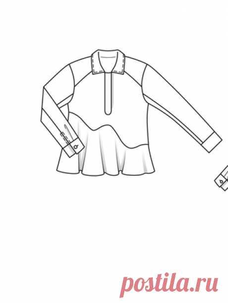 Блузка с асимметричной баской - выкройка № 104 из журнала 2/2015 Burda – выкройки блузок на Burdastyle.ru