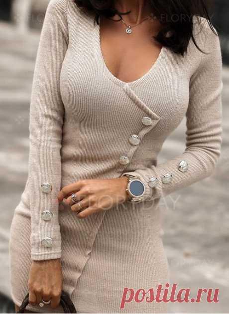 Повседневное длины выше колена Платья цвета сплошного с длинными рукавами - Floryday