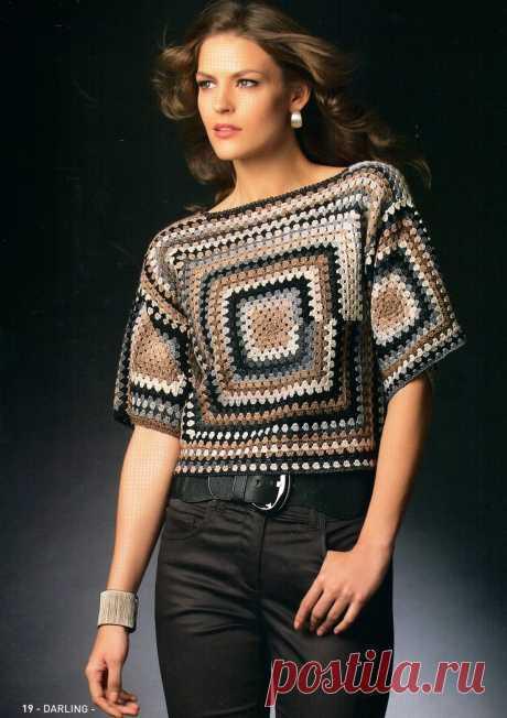 "Пуловер ""Бабушкин квадрат"" крючком из Katia 68"