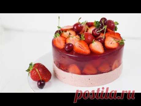 ПРОЩЕ ПРОСТОГО - ТОРТ ЖЕЛЕ С КЛУБНИКОЙ. Вкусный желейный торт с бисквитом и муссом.