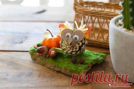 """Поделки с детьми. Фигурка из природных материалов """"Совушка"""".  Совы — умные и общительные птицы, когда им ничего не угрожает. В некоторых частях Японии даже есть кафе, где вы можете наслаждаться едой в компании сов."""