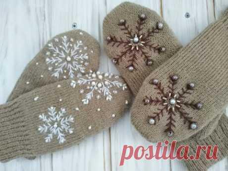 Как украсить варежки. How to decorate mittens.