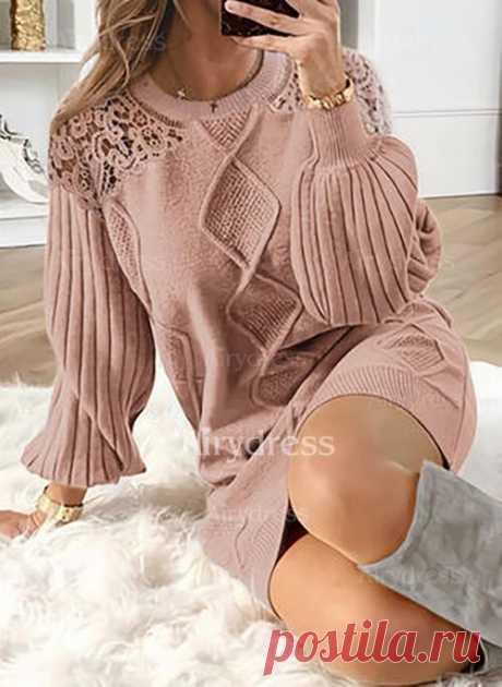 Элегантное длины выше колена Платья цвета сплошного с длинными рукавами - Airydress