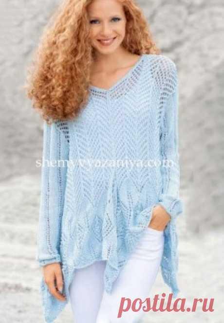 Ажурный пуловер с заостренными краями