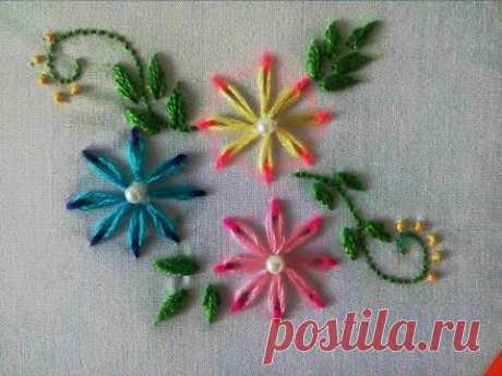 Двухцветные цветы вышивка | Цепная строчка | Ручная вышивка | Hand Embroidery