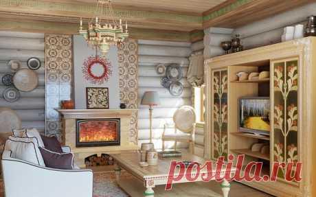 Гостиная в русском народном стиле