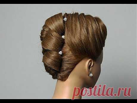 Hairstyle for long medium hair. Updo hairstyles. Вечерняя прическа с плетением на средние волосы. - YouTube