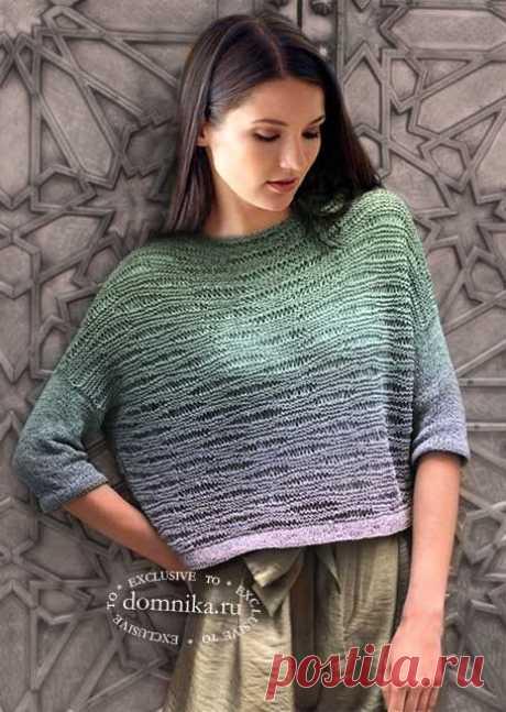 Женский пуловер спицами - стильный джемпер с узором, укороченная модель пуловера
