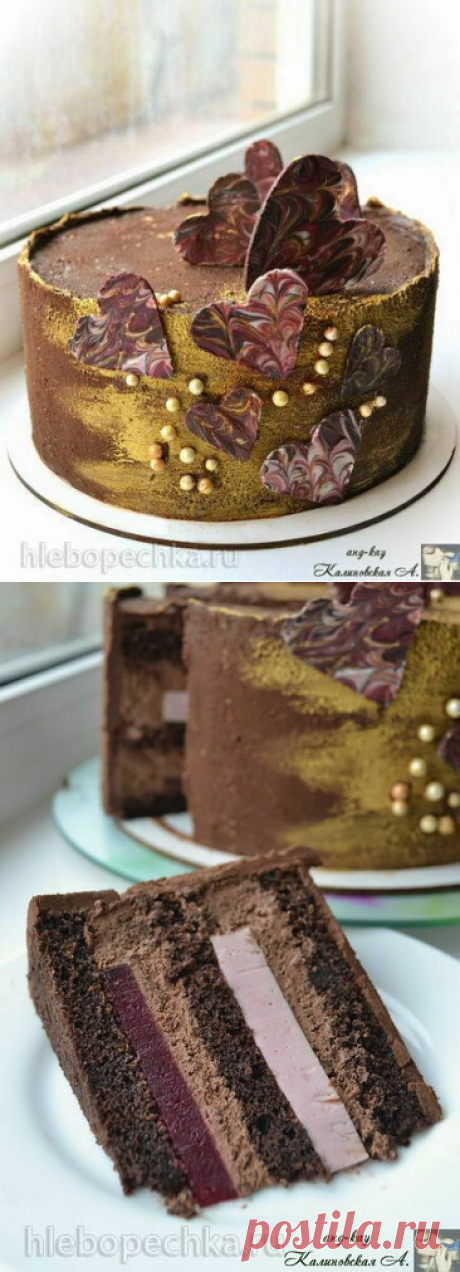 """Шоколадный торт """"Малина в шоколаде"""" с малиновым желе, намелакой и крем-муссом - рецепт с фото на Хлебопечка.ру"""