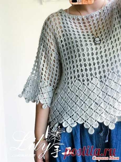 Ажурный пуловер с красивой обвязкой(два цветовых решения) от лиора мой светик (Страна Мам)