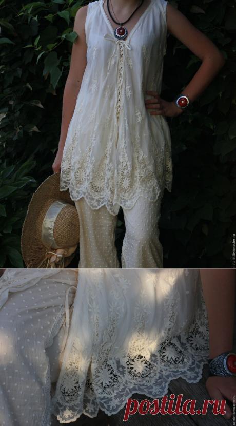 Купить Блузка и юбка белые, большие размеры, батист, кружево, БОХО стиль - белый