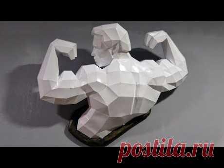 Арнольд Шварценеггер из бумаги украсил мой спортзал. Паперкрафт