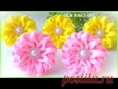 Канзаши/Цветы из репсовой ленты/Kanzashi Grosgrain Ribbon Flower Tutorial/Flor de Fitas/Ola ameS DIY - YouTube