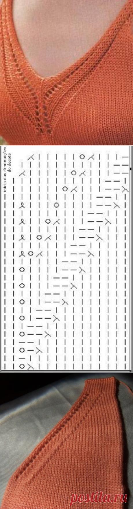 Декоративное оформление: V-образной горловины и линии реглана.