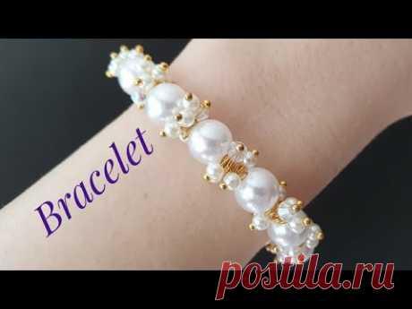 BRACELET/Beaded bracelet/Pearl BRACELET/Diy Bracelet/Tutorial/Браслет на резинке/Браслет из бусин/