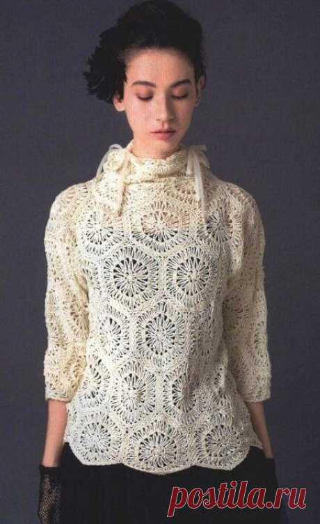 Удобные пуловеры крючком. Ажурные модели   Южная сова   Яндекс Дзен