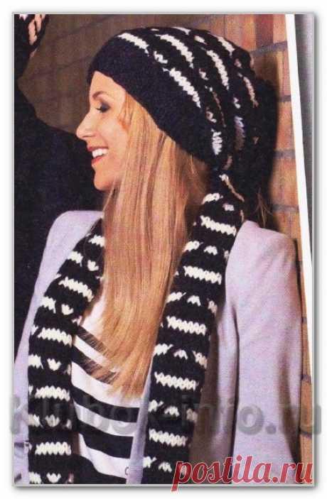 Вязание спицами. Описание женской модели со схемой и выкройкой. Шапка и шарф с двухцветными контрастными узорами. Размеры: 54-56 см, 26 x 180 см