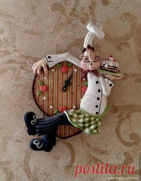 Часы «Веселый повар» из соленого теста. Мастер-класс