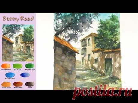 Без эскиза Пейзажная акварель -  Солнечная дорога  (Arches rough) NAMIL ART