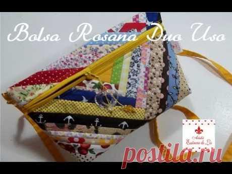 PAP - Bolsa Rosana Duo Uso (com retalhos) - Mão e transversal - Ateliê Essência de Lis