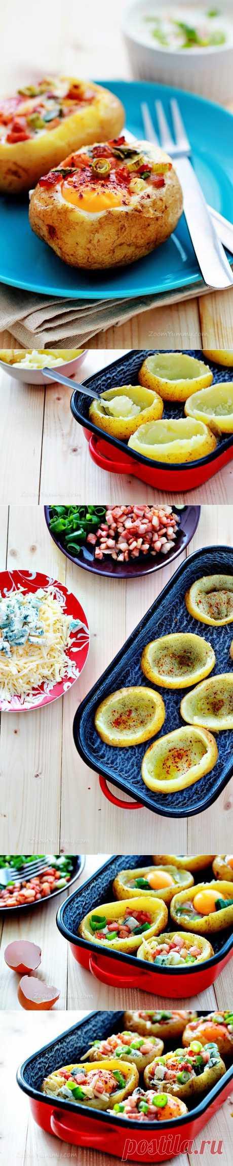 InVkus: Запеченная картошка с аппетитной начинкой.  Мне очень понравилась идея этого рецепта. Он дает волю кулинарной фантазии. Здесь 2 главных компонента - картофель и яйцо. Остальные ингредиенты - это ваши гастрономические предпочтения и содержимое холодильника. Блюдо получается очень сытным. Пошаговый рецепт с фотографиями запеченной картошки с начинкой.