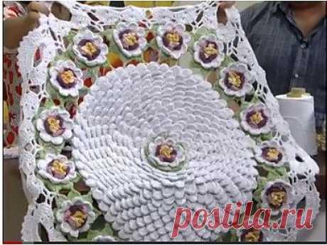 AS RECEITAS DE CROCHÊ: Tapete de flores de croche lindo