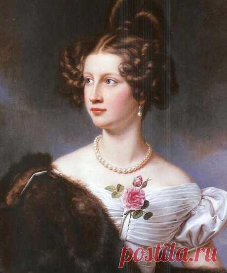 Баронесса Амалия фон Крюденер, урождённая графиня фон Лерхенфельд, во втором браке графиня фон Адлерберг (1808–1888, портрет написан Йозефом Штилером для Галереи красавиц Нимфенбургского дворца в 1828 году)