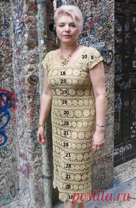 """Платье крючком """" Золотистые монетки"""" - Lilia Vignan"""