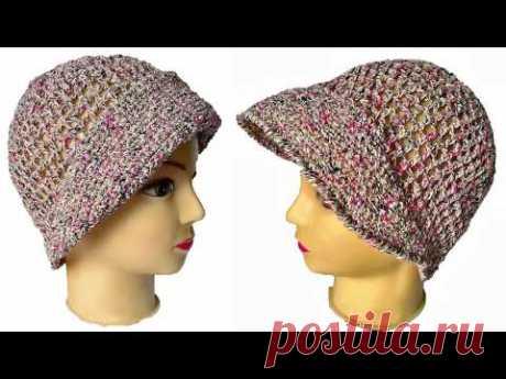 Вязание крючком: летняя шапка с козырьком